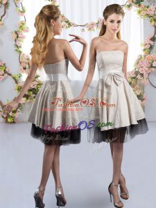Flirting White Strapless Zipper Bowknot Quinceanera Court Dresses Sleeveless