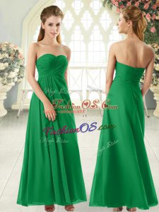 Low Price Green Sleeveless Floor Length Ruching Zipper