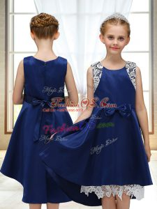 Sophisticated Navy Blue Zipper Scoop Lace and Bowknot Flower Girl Dresses for Less Satin Sleeveless