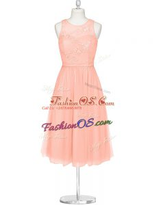 Spectacular Mini Length A-line Sleeveless Pink Dress for Prom Zipper