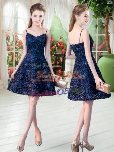 Mini Length Navy Blue Prom Dresses Sleeveless Lace