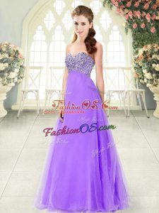 Top Selling Floor Length Lace Up Prom Dresses Lavender for Prom and Party with Beading