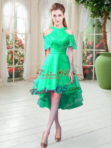 Modern Turquoise Zipper High-neck Lace Homecoming Dress Tulle Short Sleeves