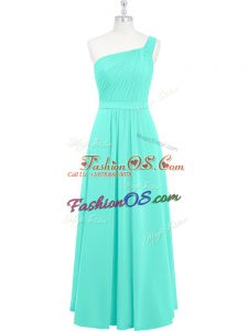 Aqua Blue A-line Ruching Prom Party Dress Zipper Chiffon Sleeveless Floor Length