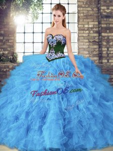Sumptuous Baby Blue Ball Gowns Tulle Sweetheart Sleeveless Beading and Embroidery Floor Length Lace Up Sweet 16 Dress