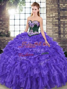 Glamorous Purple Sleeveless Sweep Train Embroidery and Ruffles Sweet 16 Dress
