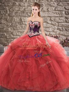 Floor Length Red Sweet 16 Quinceanera Dress Tulle Sleeveless Beading and Embroidery