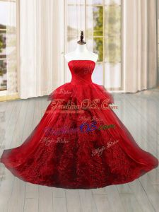 Chic Sleeveless Brush Train Lace and Ruffles Lace Up Vestidos de Quinceanera