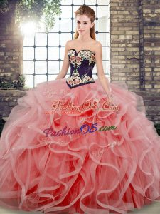 Modest Watermelon Red Tulle Lace Up Sweetheart Sleeveless Quinceanera Gowns Sweep Train Embroidery and Ruffles
