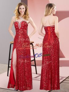 Romantic Red Sweetheart Lace Up Beading and Lace Prom Dress Sleeveless