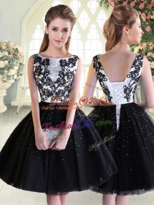 Edgy Mini Length Ball Gowns Sleeveless Black Prom Party Dress Lace Up