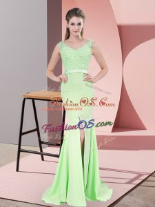 Apple Green Sleeveless Beading and Lace Zipper