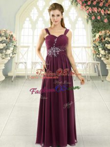 Admirable Beading and Ruching Burgundy Lace Up Sleeveless Floor Length