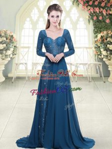 Admirable Blue Long Sleeves Beading and Lace Backless