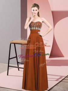 Brown Empire Chiffon Strapless Sleeveless Beading Floor Length Zipper Prom Evening Gown