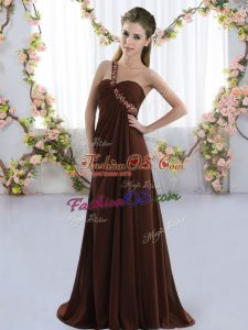 Brush Train Empire Quinceanera Dama Dress Brown One Shoulder Chiffon Sleeveless Lace Up