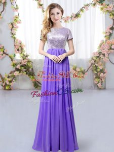 Spectacular Chiffon Short Sleeves Floor Length Quinceanera Court of Honor Dress and Sequins