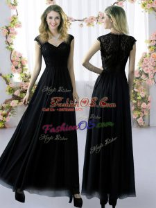 Most Popular Black Cap Sleeves Chiffon Zipper Wedding Party Dress for Prom and Party and Wedding Party