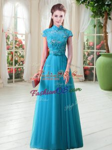 Cap Sleeves Floor Length Appliques Lace Up Prom Party Dress with Aqua Blue