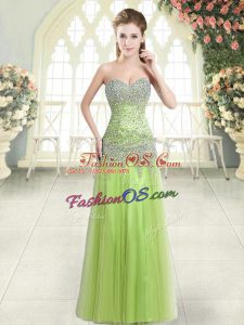 Sleeveless Floor Length Beading Zipper Prom Dresses with Yellow Green