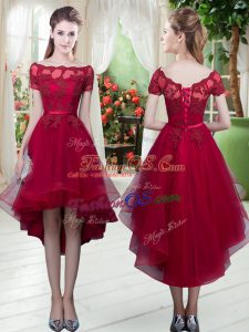 Captivating Appliques Prom Evening Gown Wine Red Lace Up Short Sleeves High Low