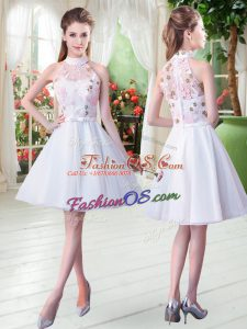 Latest Sleeveless Tulle Knee Length Zipper in White with Appliques