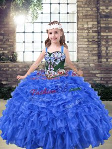Blue Ball Gowns Straps Sleeveless Organza Floor Length Lace Up Embroidery and Ruffles Kids Formal Wear