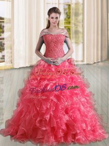 Coral Red A-line Organza Off The Shoulder Sleeveless Beading and Lace and Ruffles Lace Up Quinceanera Gown Sweep Train