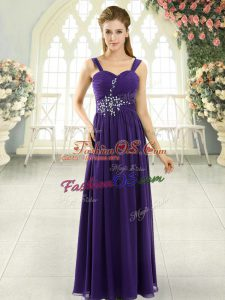 Glamorous Purple Lace Up Spaghetti Straps Beading and Ruching Prom Dress Chiffon Sleeveless