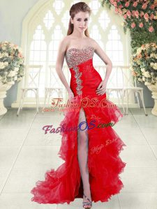 Ideal Mermaid Sleeveless Red Prom Party Dress Brush Train Lace Up