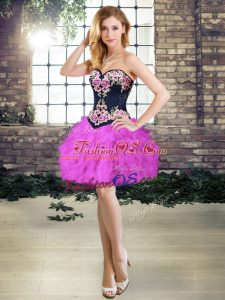 Sumptuous A-line Prom Party Dress Purple Sweetheart Sleeveless Mini Length Lace Up