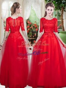 Suitable Scoop Half Sleeves Lace Up Evening Dress Red Tulle