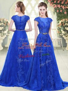 Delicate Sweep Train A-line Prom Gown Blue Scoop Tulle Cap Sleeves Zipper