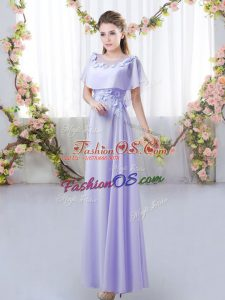 Designer Lavender Damas Dress Prom and Party and Wedding Party with Appliques Scoop Short Sleeves Zipper