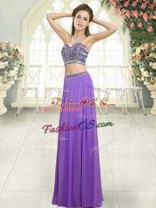 Custom Fit Chiffon Sweetheart Sleeveless Backless Beading Prom Gown in Lavender