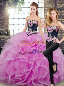 Embroidery and Ruffles Sweet 16 Quinceanera Dress Lilac Lace Up Sleeveless Floor Length Sweep Train