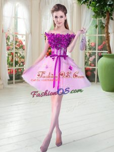 Cute Mini Length Lace Up Prom Evening Gown Lilac for Prom and Party with Beading and Appliques