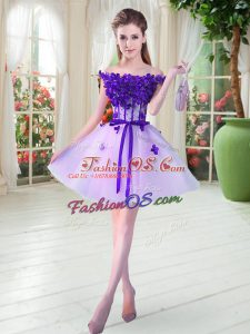 Dramatic Off The Shoulder Sleeveless Prom Dress Mini Length Beading and Appliques Lavender Tulle