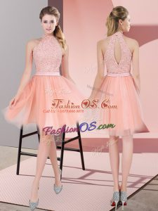 Smart Sleeveless Tulle Knee Length Zipper Prom Dresses in Peach with Beading