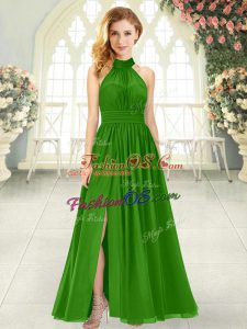 Attractive Ruching Green Zipper Sleeveless Ankle Length