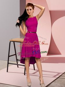 Affordable High Low Empire Sleeveless Fuchsia Evening Dress Lace Up
