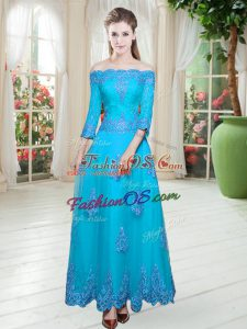 Tulle Off The Shoulder 3 4 Length Sleeve Lace Up Lace Evening Dress in Blue