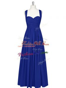 Floor Length Royal Blue Evening Dress Straps Sleeveless Zipper
