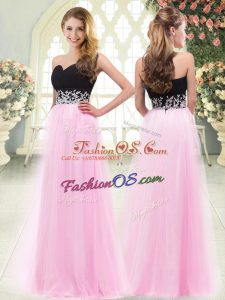 Super Empire Dress for Prom Rose Pink Sweetheart Tulle Sleeveless Floor Length Zipper