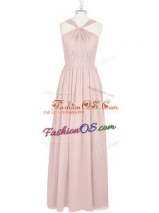 Pink Empire Pleated Dress for Prom Zipper Chiffon Sleeveless Floor Length
