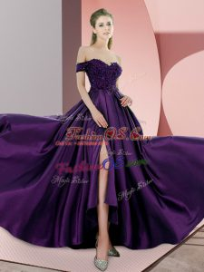 Admirable Purple Prom Party Dress Elastic Woven Satin Sweep Train Sleeveless Beading and Lace