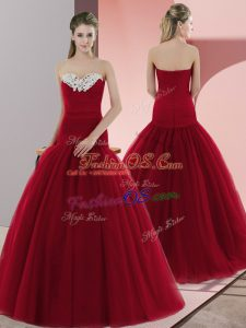 Super Floor Length Red Prom Dress Sweetheart Sleeveless Zipper