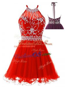 Fitting Beading Prom Party Dress Red Backless Sleeveless Mini Length