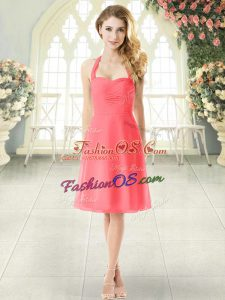 Perfect Watermelon Red Sleeveless Chiffon Zipper Evening Dress for Prom and Party
