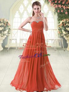 Fitting Floor Length Zipper Homecoming Dress Rust Red for Prom and Party with Beading